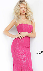 Image of Jovani long strapless sparkly formal prom dress. Style: JO-1121 Detail Image 1
