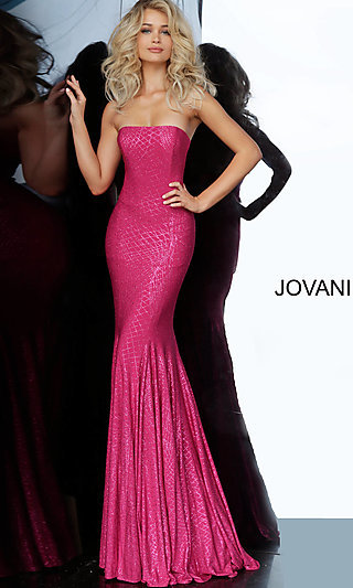 Long Glitter Strapless Fitted Prom Dress