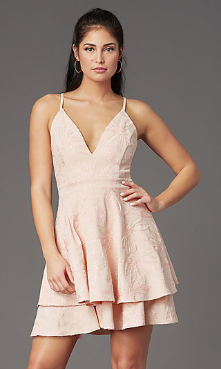 Short V-Neck Embroidered Graduation Party Dress