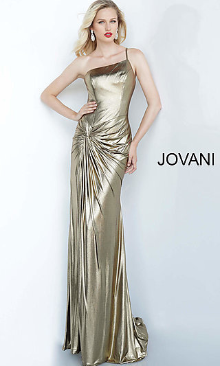 Long Metallic One-Shoulder Prom Dress by Jovani