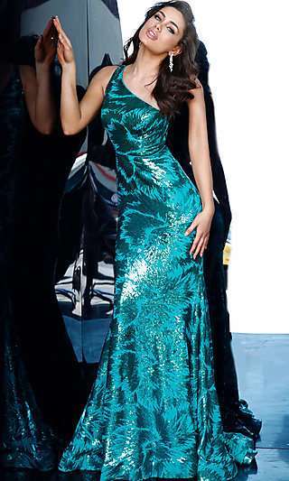Long One-Shoulder Sequin Prom Dress by Jovani