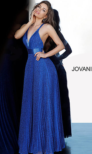 Long Glitter Pleated Prom Dress with Beading