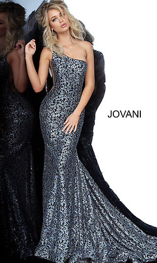 One-Shoulder Lace Prom Dress with Sheer Side Insets