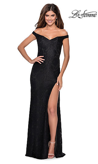Long La Femme Lace Off-the-Shoulder Prom Dress