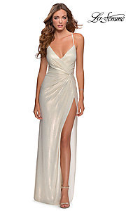 Image of long metallic sparkly prom dress with open back. Style: LF-28363 Front Image