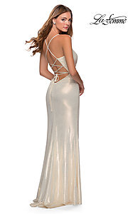 Image of long metallic sparkly prom dress with open back. Style: LF-28363 Back Image