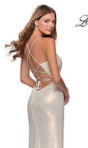 Image of long metallic sparkly prom dress with open back. Style: LF-28363 Detail Image 2