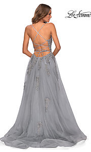 Image of La Femme long prom dress with corset open back. Style: LF-28470 Detail Image 7