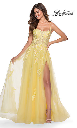La Femme Long Prom Dress with Corset Open Back