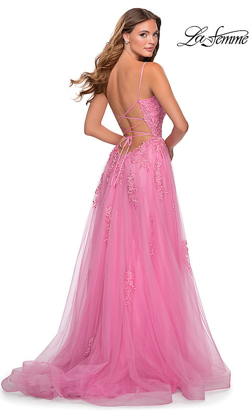 Image of La Femme long prom dress with corset open back. Style: LF-28470 Back Image