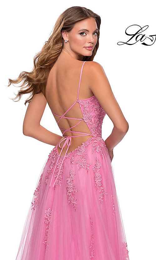 Image of La Femme long prom dress with corset open back. Style: LF-28470 Detail Image 2