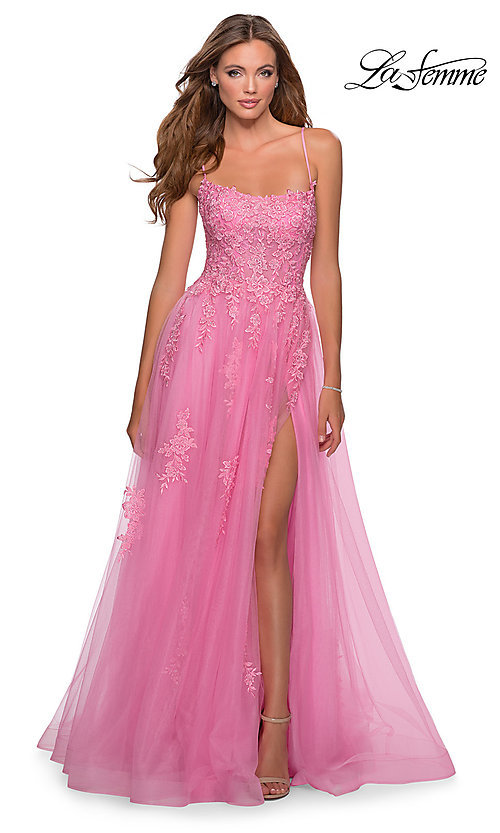 Image of La Femme long prom dress with corset open back. Style: LF-28470 Detail Image 3