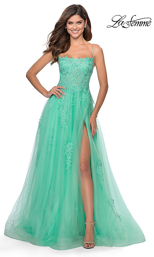 Image of La Femme long prom dress with corset open back. Style: LF-28470 Detail Image 5