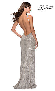 Image of long sequin high-neck prom dress by La Femme. Style: LF-28529 Detail Image 2