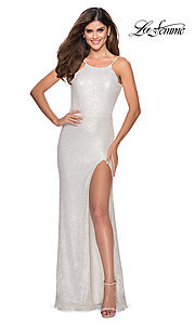 Image of long sequin high-neck prom dress by La Femme. Style: LF-28529 Detail Image 8