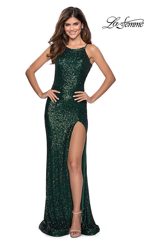 Image of long sequin high-neck prom dress by La Femme. Style: LF-28529 Detail Image 6
