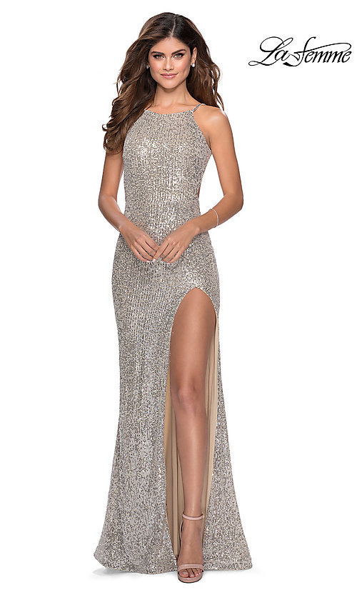 Image of long sequin high-neck prom dress by La Femme. Style: LF-28529 Detail Image 1