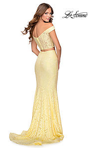 Image of long lace two-piece formal prom dress by La Femme. Style: LF-28565 Front Image
