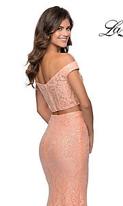 Image of long lace two-piece formal prom dress by La Femme. Style: LF-28565 Detail Image 6