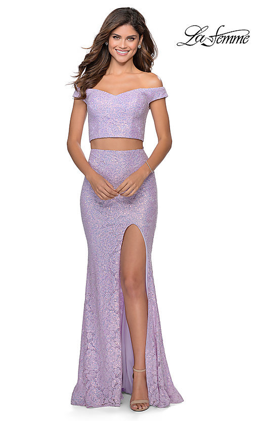 Image of long lace two-piece formal prom dress by La Femme. Style: LF-28565 Detail Image 7