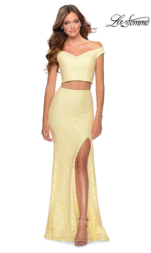 Image of long lace two-piece formal prom dress by La Femme. Style: LF-28565 Back Image