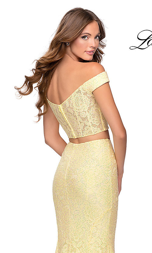 Image of long lace two-piece formal prom dress by La Femme. Style: LF-28565 Detail Image 1