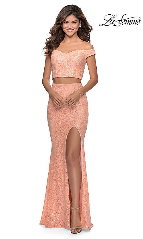 Image of long lace two-piece formal prom dress by La Femme. Style: LF-28565 Detail Image 3
