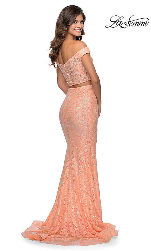 Image of long lace two-piece formal prom dress by La Femme. Style: LF-28565 Detail Image 4