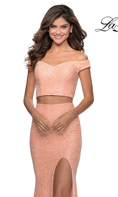 Image of long lace two-piece formal prom dress by La Femme. Style: LF-28565 Detail Image 5