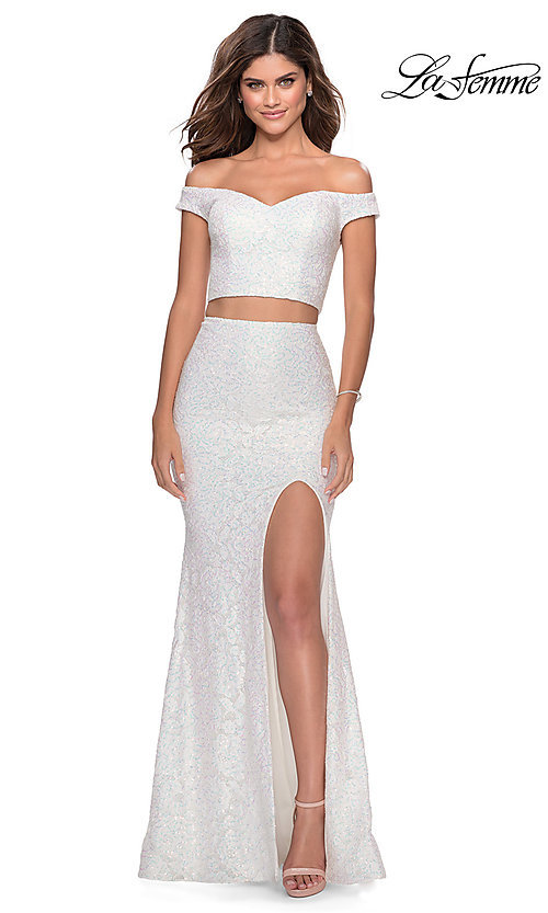 Image of long lace two-piece formal prom dress by La Femme. Style: LF-28565 Detail Image 8