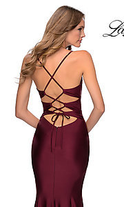Image of open-back long La Femme prom dress with corset. Style: LF-28574 Detail Image 2