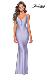 Image of open-back long La Femme prom dress with corset. Style: LF-28574 Detail Image 7