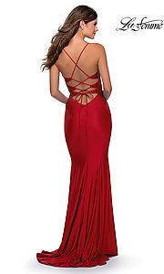 Image of open-back long La Femme prom dress with corset. Style: LF-28574 Detail Image 4