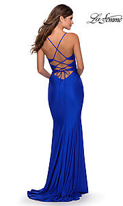 Image of open-back long La Femme prom dress with corset. Style: LF-28574 Detail Image 6