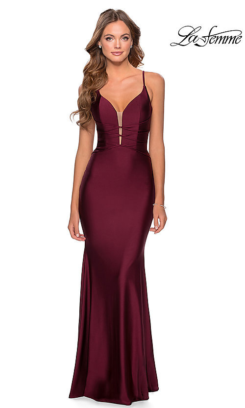 Image of open-back long La Femme prom dress with corset. Style: LF-28574 Front Image