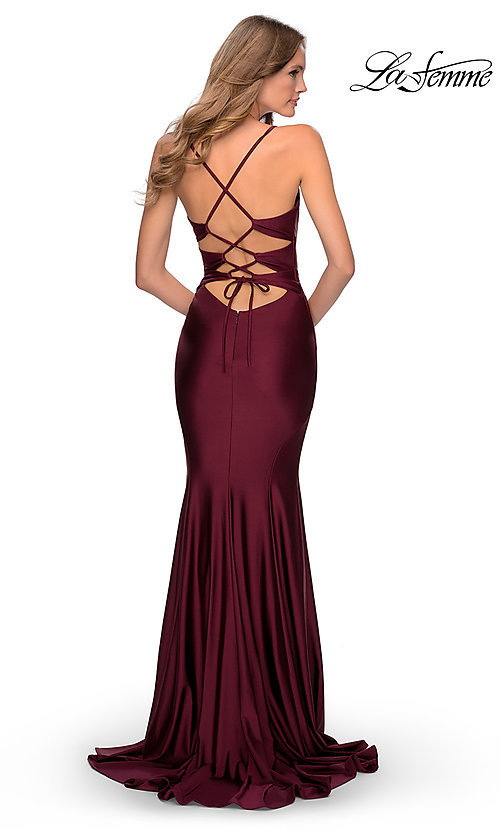Image of open-back long La Femme prom dress with corset. Style: LF-28574 Back Image