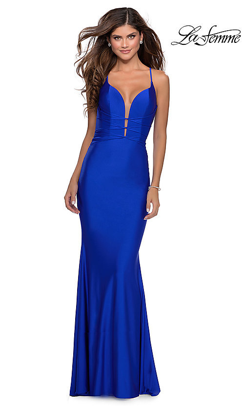 Image of open-back long La Femme prom dress with corset. Style: LF-28574 Detail Image 5