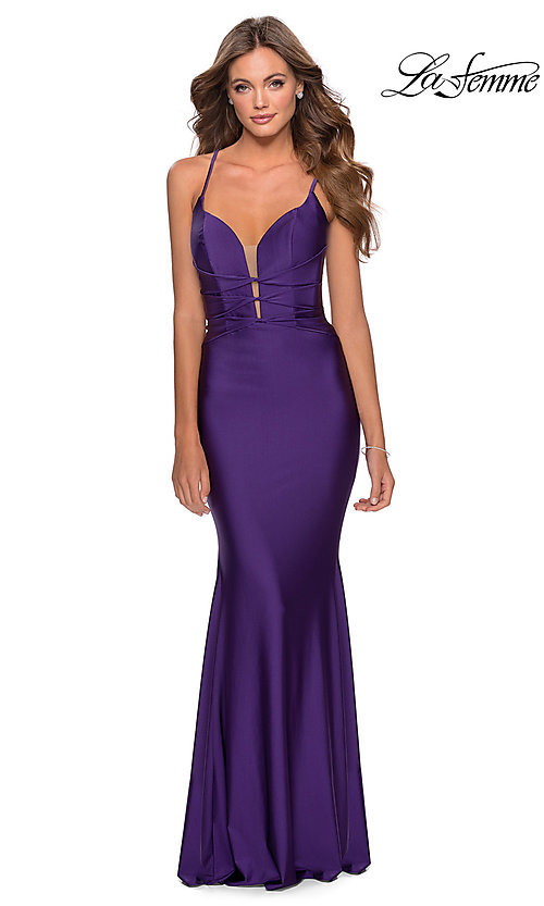 Image of open-back long La Femme prom dress with corset. Style: LF-28574 Detail Image 8