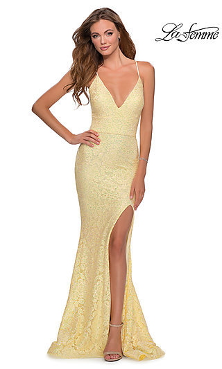 Long Sequins and Lace V-Neck La Femme Prom Dress