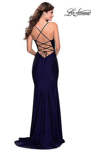 Long Fitted V-Neck Prom Dress with a Lace-Up Back