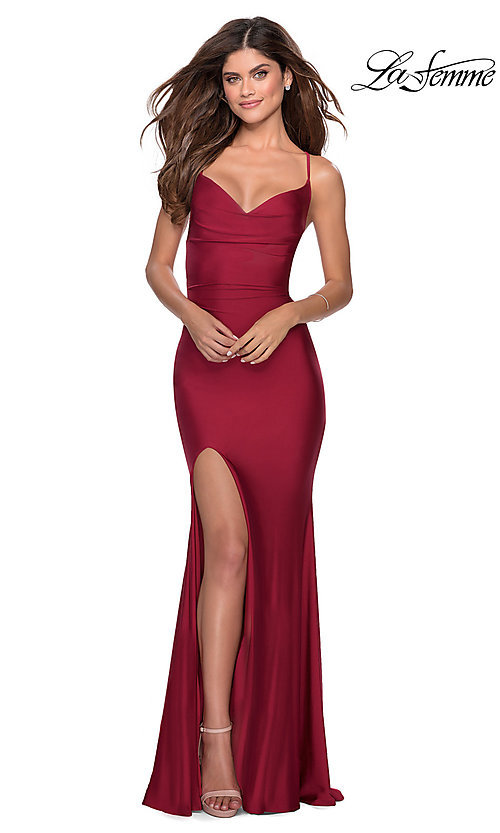 Image of long designer formal prom dress with lace-up back. Style: LF-28518 Detail Image 1