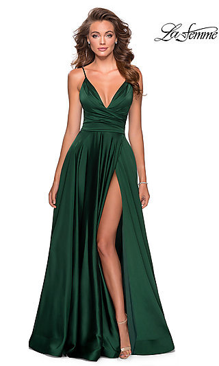 Long Satin V-Neck Prom Dress with an A-Line Skirt