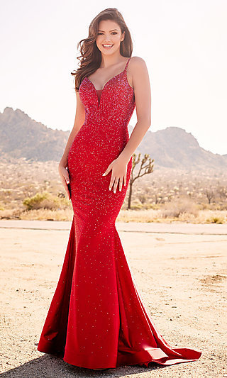 Long Beaded Mermaid-Style Designer Prom Dress