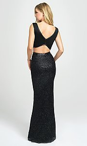 Image of long two-piece formal prom dress with glitter skirt. Style: NM-19-101 Back Image