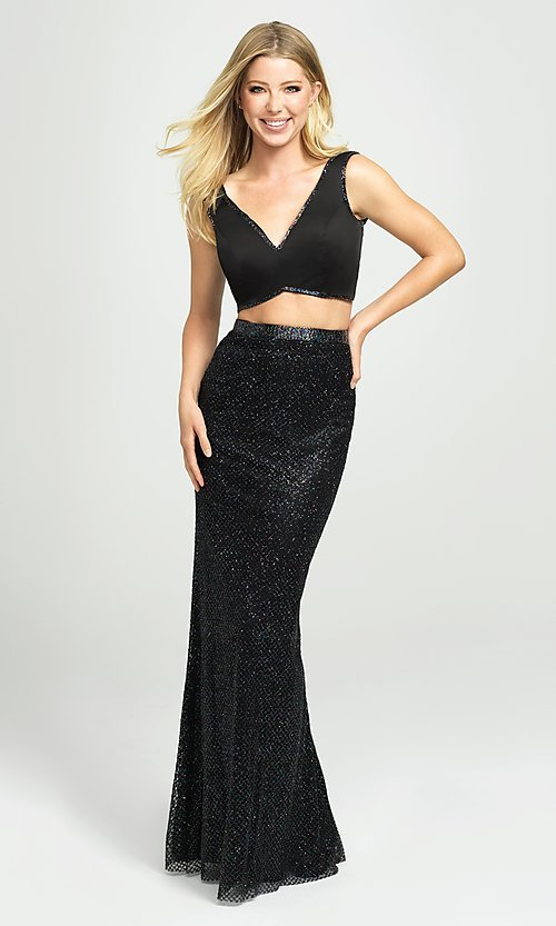 Image of long two-piece formal prom dress with glitter skirt. Style: NM-19-101 Front Image