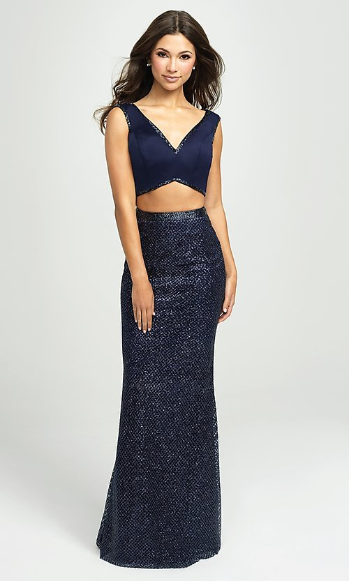 Image of long two-piece formal prom dress with glitter skirt. Style: NM-19-101 Detail Image 1