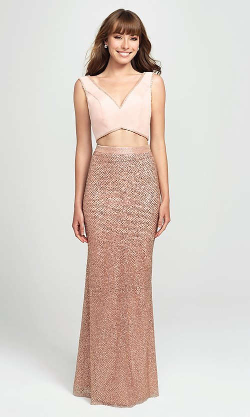 Image of long two-piece formal prom dress with glitter skirt. Style: NM-19-101 Detail Image 2