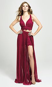 Image of two-piece illusion pleated prom dress with shorts. Style: NM-19-103 Front Image