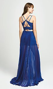 Image of two-piece illusion pleated prom dress with shorts. Style: NM-19-103 Back Image