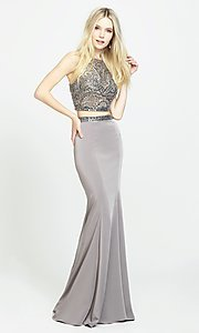 Image of high-neck long two-piece prom dress with beads. Style: NM-19-106 Front Image